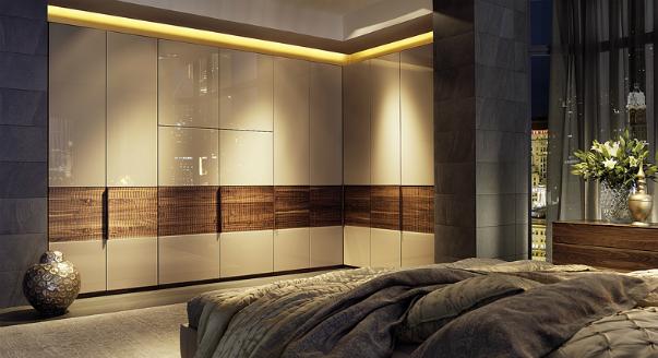 Платяной шкаф в спальню с подсветкой