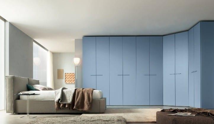 Голубой платяной шкаф для спальни