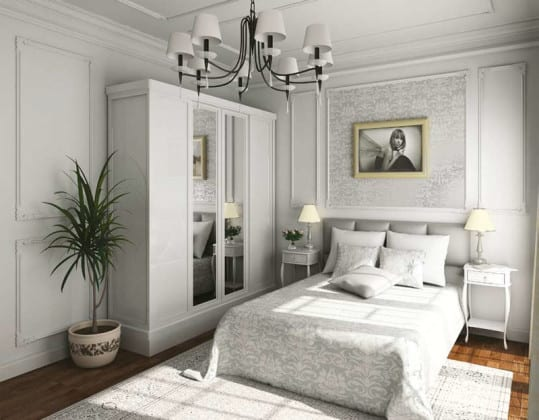 Платяной белый шкаф в спальне