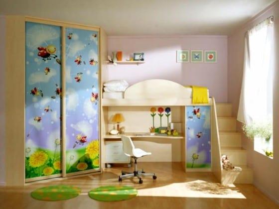 шкаф-купе для детской с кроватью