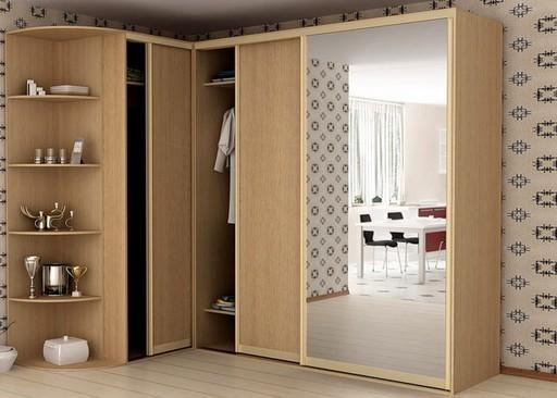 Зеркальный угловой шкаф-купе для прихожей