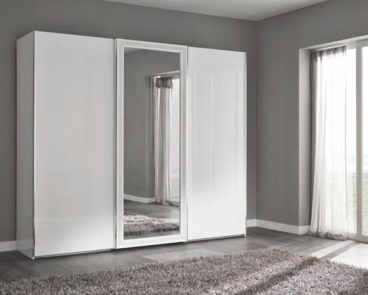 Шкаф-купе белый с зеркалом