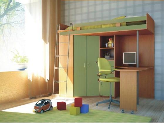 Детская стенка со столом, шкафом и кроватью