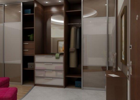 Зеркальный встроенный шкаф для прихожей