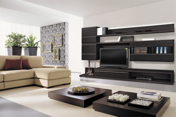 Угловые стенки в гостиную современные