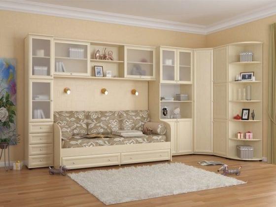 Детский угловой шкаф с кроватью