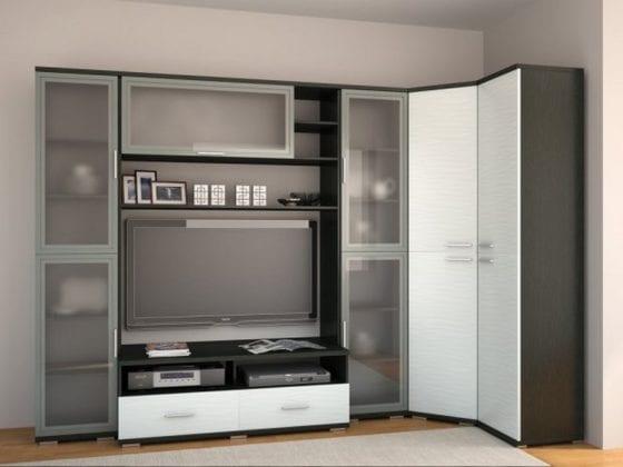Дизайн гостиной с угловым шкафом
