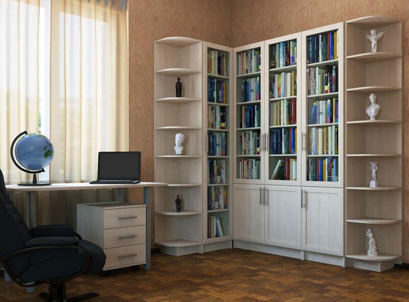 Книжный шкаф со стеклянными дверцами.