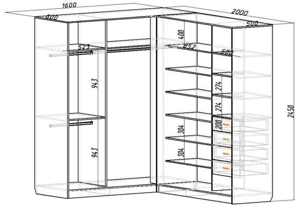 Угловые шкафы размеры