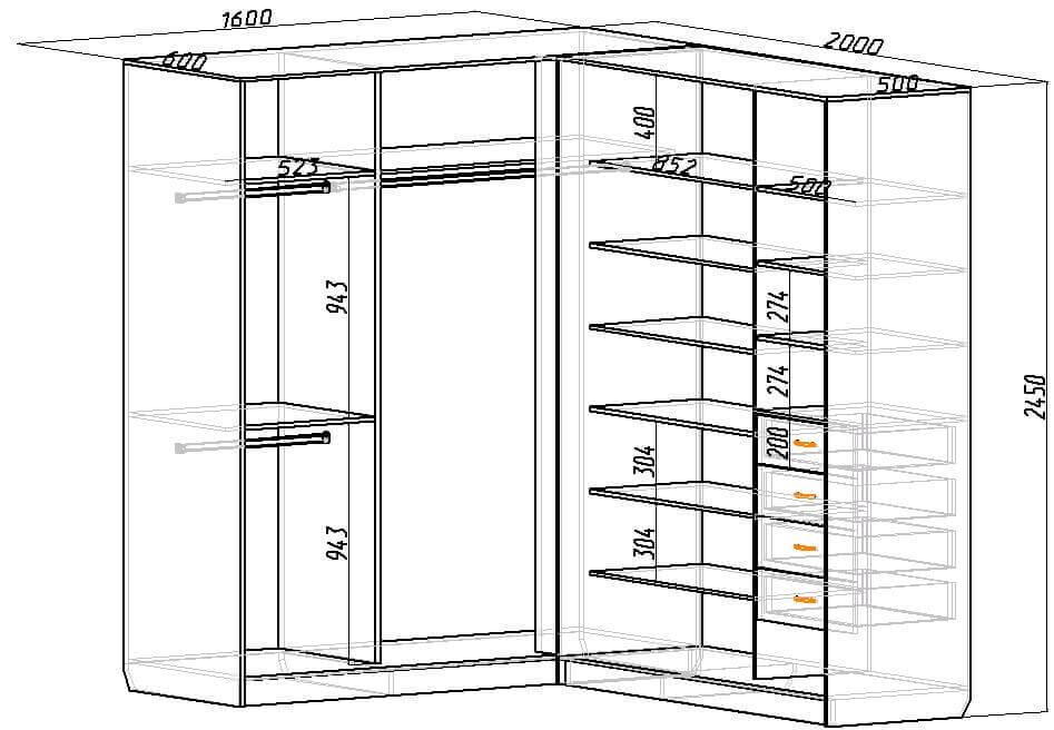 Схема углового шкафа своими руками фото