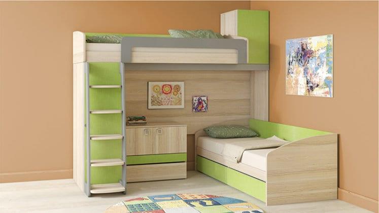 Двухъярусная угловая кровать со шкафом
