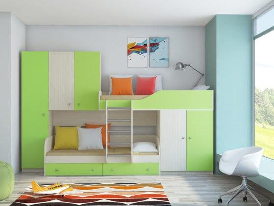 Двухъярусные детские кровати со шкафом