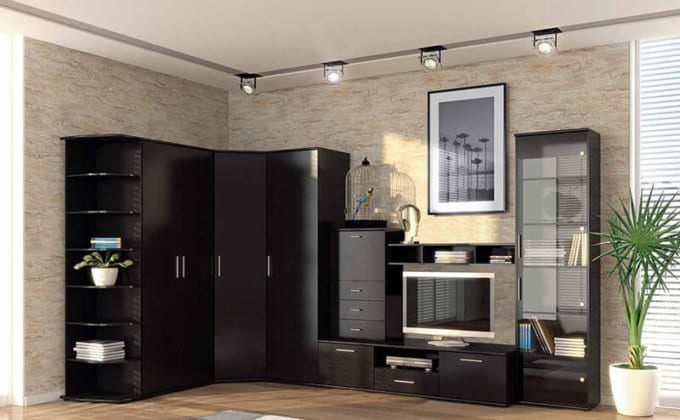Стенки угловые в комнату с вместительным шкафом