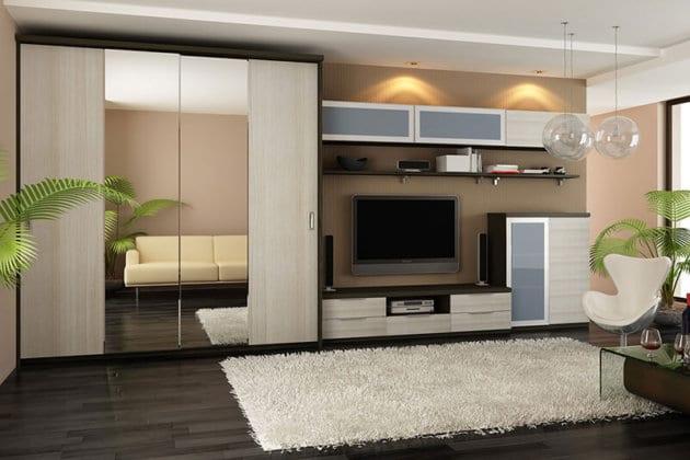 Шкафы-купе с нишей под телевизор